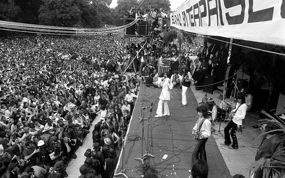 The Rolling Stones on stage at their free concert in London's Hyde Park on 5 July 1969 (Photo by Daily Mirror/Mirrorpix/Mirrorpix via Getty Images)The Rolling Stones on stage at their free concert in London's Hyde Park on 5 July 1969 (Photo by Daily Mirror/Mirrorpix/Mirrorpix via Getty Images)   - Getty
