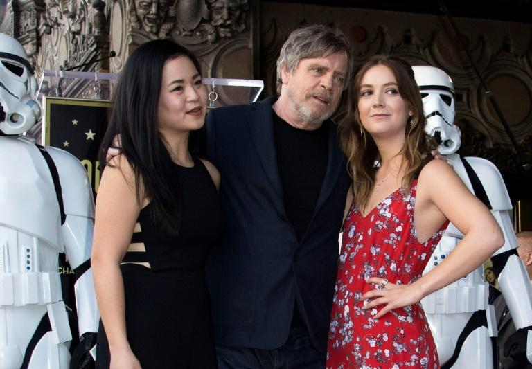 (L-R) Actors Kelly Marie Tran, Mark Hamill and and Billie Lourd attend the ceremony honoring Hamill with a star on the Hollywood Walk of Fame on March 8, 2018, in Hollywood, California