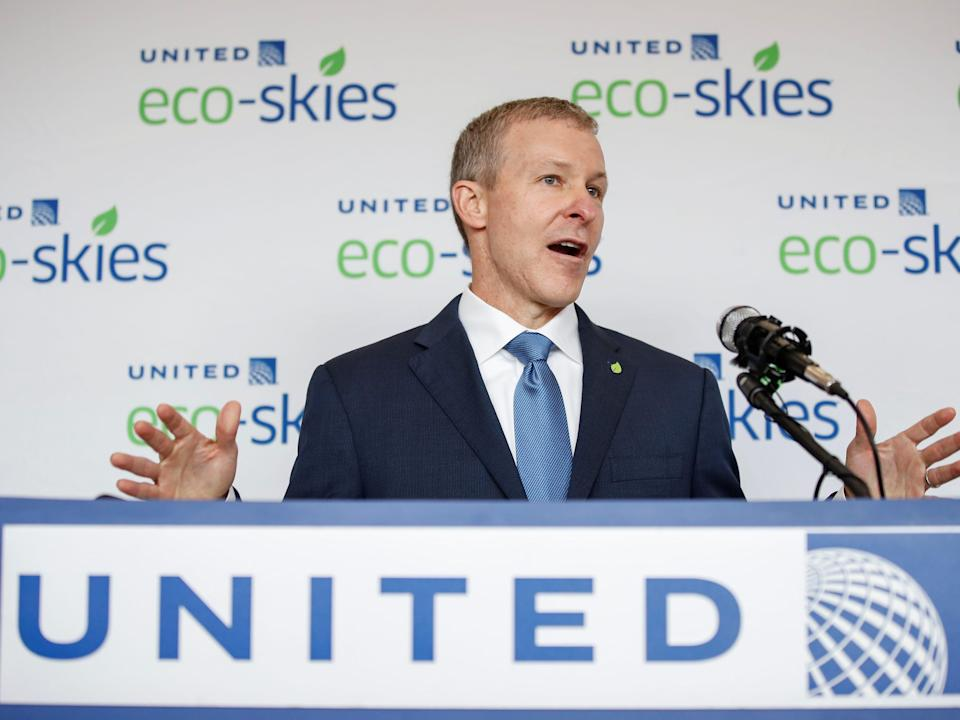 FILE PHOTO: United Airlines president Scott Kirby speaks before the departure of the