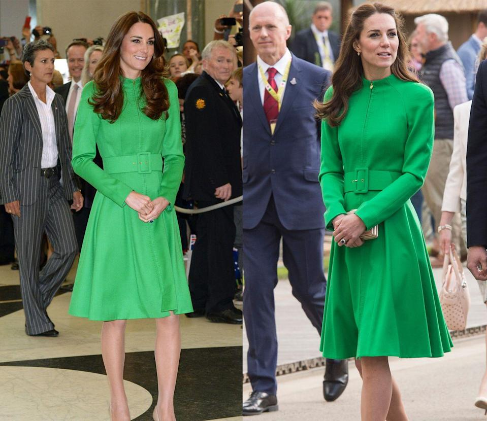 <p>The Duchess of Cambridge has worn this kelly green Catherine Walker coat, once in April 2014 and again in May 2016. </p>