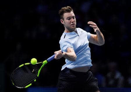 Tennis - ATP World Tour Finals - The O2 Arena, London, Britain - November 12, 2017 USA's Jack Sock in action during his group stage match against Switzerland's Roger Federer Action Images via Reuters/Tony O'Brien