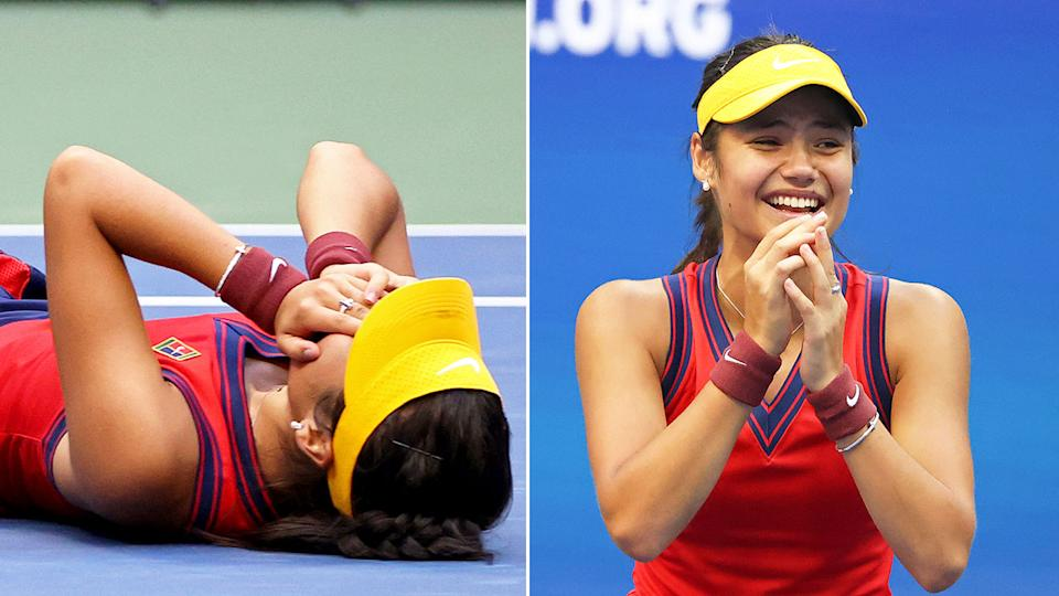 Seen here, Emma Raducanu is overcome with emotion after winning the US Open title.