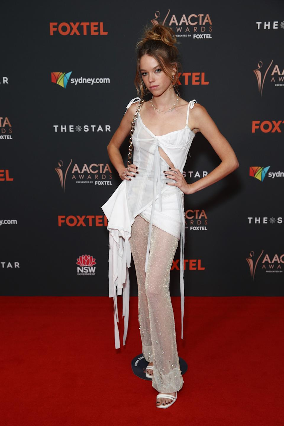 Milly Alcock arrives ahead of the 2020 AACTA Awards presented by Foxtel at The Star on November 30, 2020 in Sydney, Australia