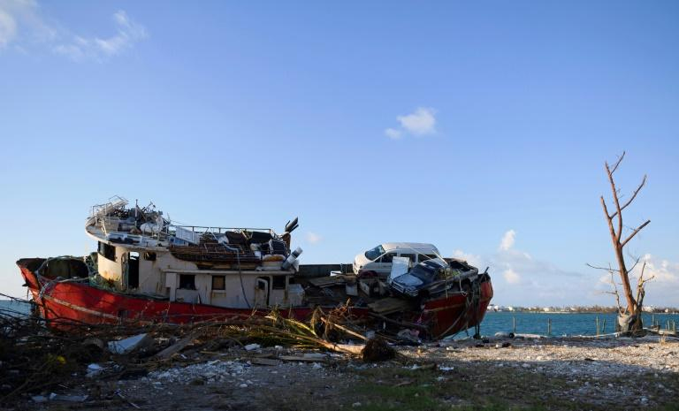 A ship that was pushed up near the road from a storm surge is seen in Marsh Harbour on the Abaco Islands in the Bahamas