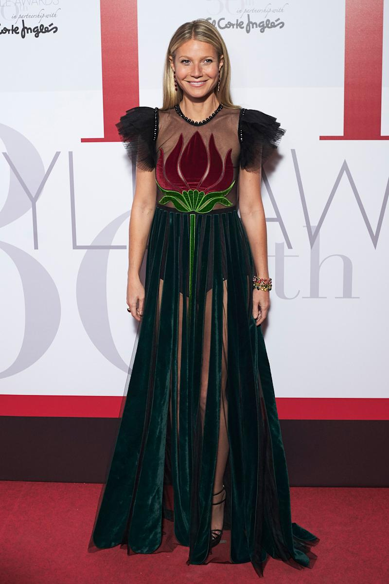 Gwyneth Paltrow \'Rose\' to the Occasion in Sheer Floral Gucci Gown