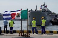 Mexican ship with humanitarian aid arrives in Havana.