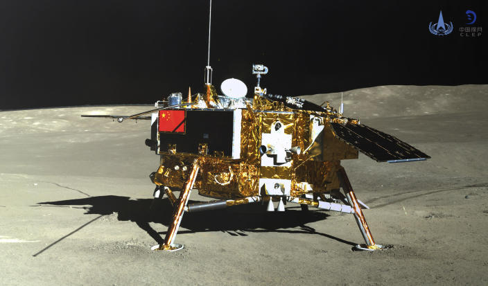 In this photo provided Jan. 12, 2019, by the China National Space Administration via Xinhua News Agency, the lunar lander of the Chang'e-4 probe is seen in a photo taken by the rover Yutu-2 on Jan. 11, 2019. China's space agency says it worked with NASA to collect data from the far side of the moon. The state-run China Daily said this was the first such collaboration since an American law banned joint space projects with China that do not have prior congressional approval. (China National Space Administration/Xinhua News Agency via AP)