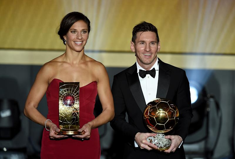 ZURICH, SWITZERLAND - JANUARY 11: FIFA Women's World Player of the Year winner Carli Lloyd of the United States and Houston Dash poses with FIFA Ballon d'Or winner Lionel Messi of Argentina and Barcelona during the FIFA Ballon d'Or Gala 2015 at the Kongresshaus on January 11, 2016 in Zurich, Switzerland. (Photo by Stuart Franklin - FIFA/FIFA via Getty Images)