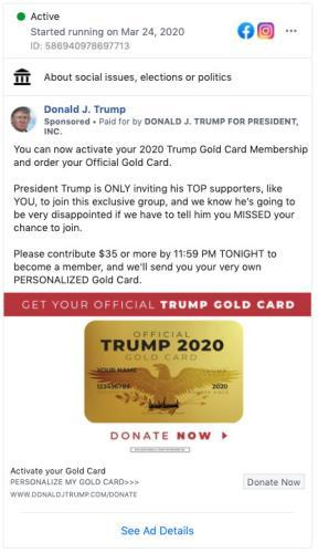 """<span class=""""element-image__caption"""">A Trump campaign ad offering a Trump Gold Card</span> <span class=""""element-image__credit"""">Photograph: Facebook</span>"""