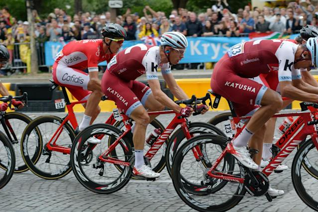 Katusha Alpecin's Tony Martin rides through Paris in the 2017 Tour de France. (Wikimedia Commons)
