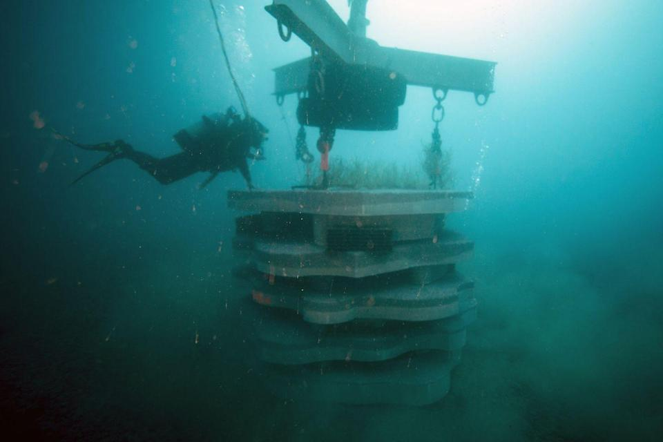 """<p>Although this looks to be a submerged high-rise apartment building, it's actually an artificial reef built off the coast of France. Its purpose is to aid in <a href=""""https://citizensgbr.org/explore/atlas/SXE-rexcor-artificial-reef"""" rel=""""nofollow noopener"""" target=""""_blank"""" data-ylk=""""slk:ecological restoration"""" class=""""link rapid-noclick-resp"""">ecological restoration</a> as part of the Rexcor project. </p>"""