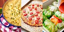 "<p>Low carb dinners don't have to boring or bland, they can be just as exciting and flavourful as you know…carb-filled dinners. It's just about knowing what type of ingredients to use and how to spice things up. We're talking <a href=""https://www.delish.com/uk/cooking/recipes/a30311929/butternut-squash-noodles-recipe/"" rel=""nofollow noopener"" target=""_blank"" data-ylk=""slk:Butternut Squash Noodles"" class=""link rapid-noclick-resp"">Butternut Squash Noodles</a>, <a href=""https://www.delish.com/uk/cooking/recipes/a30312055/burrito-zucchini-boats-recipe/"" rel=""nofollow noopener"" target=""_blank"" data-ylk=""slk:Burrito Courgette Boats"" class=""link rapid-noclick-resp"">Burrito Courgette Boats</a> and <a href=""https://www.delish.com/uk/cooking/recipes/a29891044/asian-lettuce-wraps-recipe/"" rel=""nofollow noopener"" target=""_blank"" data-ylk=""slk:Chicken Lettuce Wraps"" class=""link rapid-noclick-resp"">Chicken Lettuce Wraps</a>. Just as delicious, super easy to make and totally low carb. Take a look at some of favourite low carb recipes now.</p><p>*Does the low carb dance*</p>"