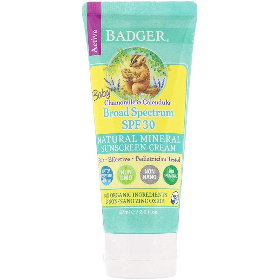 "<p>One of the highest-rated sunscreens on the EWG list, <a href=""https://www.popsugar.com/buy/Badger-Active-Baby-Natural-Mineral-Sunscreen-Cream-Chamomile-amp-Calendula-SPF-30-554744?p_name=Badger%20Active%20Baby%20Natural%20Mineral%20Sunscreen%20Cream%2C%20Chamomile%20%26amp%3B%20Calendula%2C%20SPF%2030&retailer=amazon.com&pid=554744&price=14&evar1=moms%3Aus&evar9=17218020&evar98=https%3A%2F%2Fwww.popsugar.com%2Fphoto-gallery%2F17218020%2Fimage%2F47492710%2FBadger-Active-Baby-Natural-Mineral-Sunscreen-Cream-Chamomile-Calendula-SPF-30&list1=sunscreen%2Csummer%2Cfamily%20travel%2Ckid%20shopping%2Chealth%20and%20wellness%2Cbaby%20shopping&prop13=api&pdata=1"" rel=""nofollow noopener"" class=""link rapid-noclick-resp"" target=""_blank"" data-ylk=""slk:Badger Active Baby Natural Mineral Sunscreen Cream, Chamomile & Calendula, SPF 30"">Badger Active Baby Natural Mineral Sunscreen Cream, Chamomile & Calendula, SPF 30</a> ($14, originally $17) is certified natural, using just six ingredients including zinc oxide (18.8 percent) as a blocker and sunflower oil as its base for easy application.</p>"