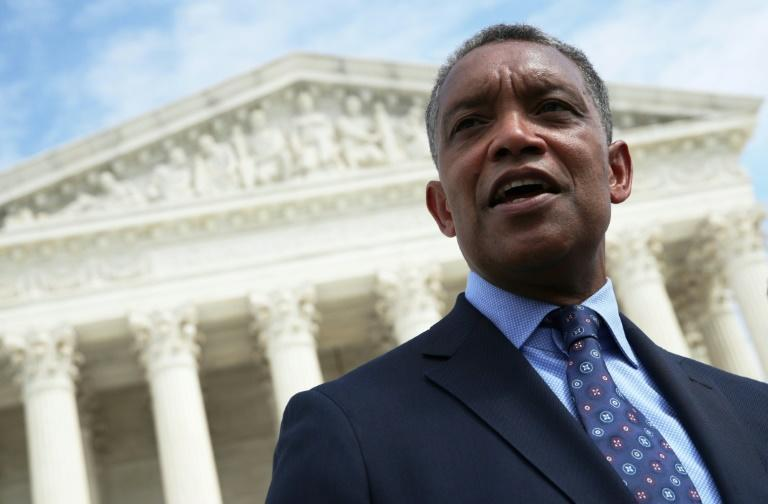 Washington, DC Attorney General Karl Racine speaks after a news conference in 2019 in which state officials announced an antitrust suit against Google