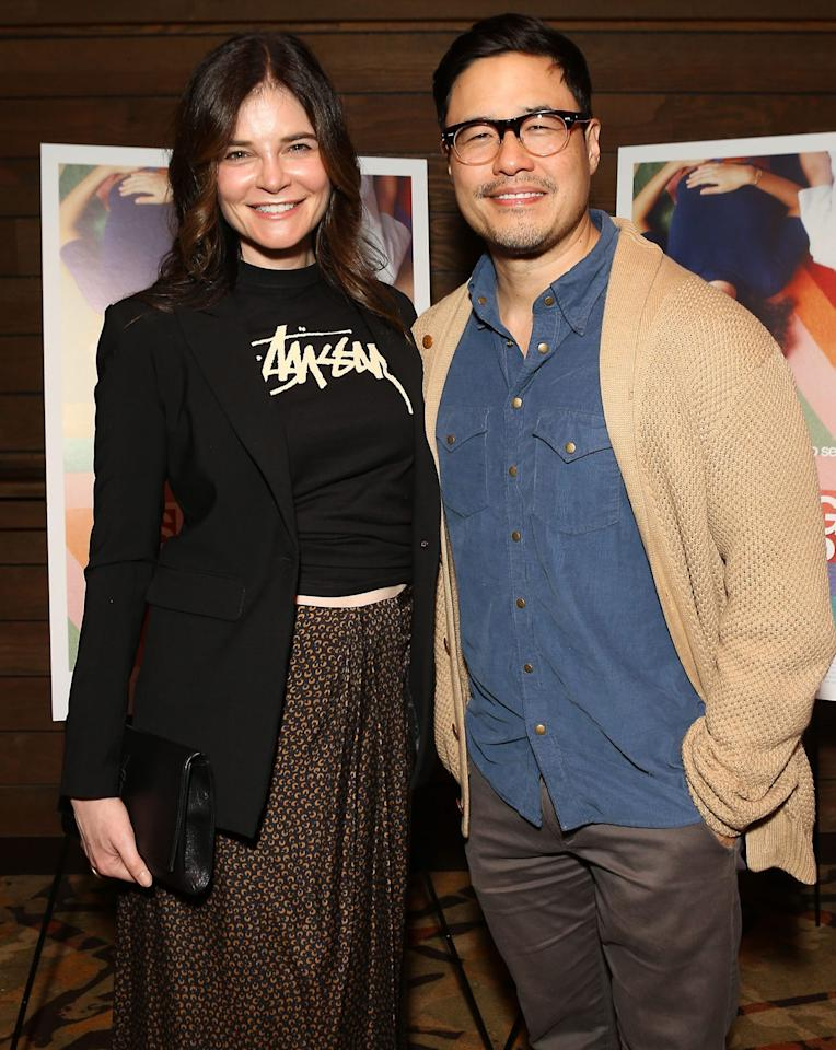 <p>Betsy Brandt and Randall Park attend a special screening of <em>Straight Up</em> in Los Angeles on Friday.</p>