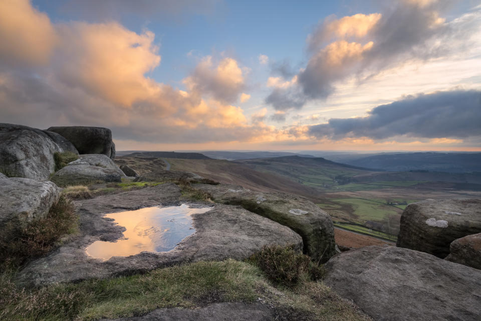 View from Stanage Edge at sunset. (Photo by: Robin Whalley/Loop Images/Universal Images Group via Getty Images)