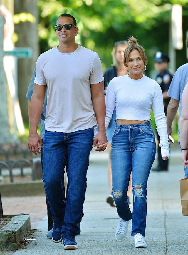 <p>The famous couple donned casual denim and t-shirt ensembles while visiting the Hamptoms in June 2017. (Photo: Splash) </p>