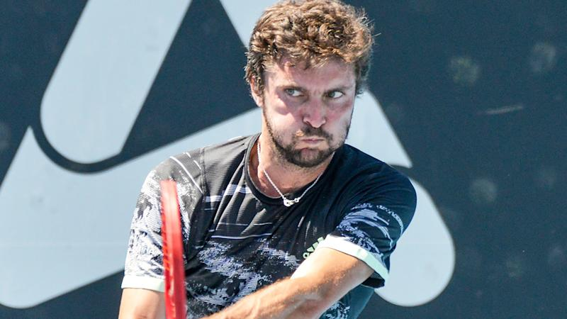 Gilles Simon is pictured during the Adelaide Open in 2019.