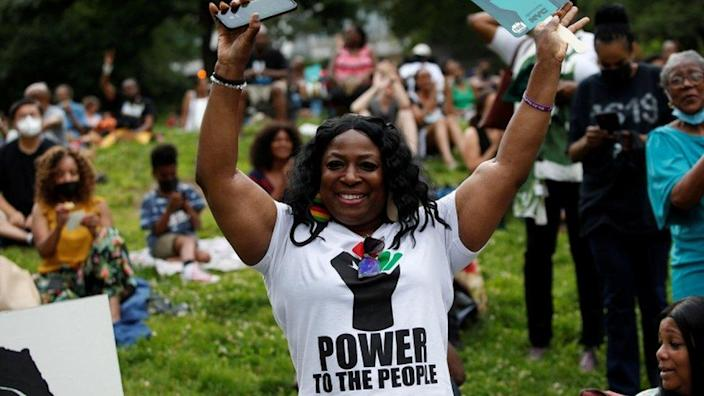 People celebrate Juneteenth at St Nicholas Park in New York
