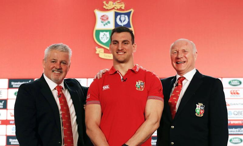 British & Irish Lions head coach Warren Gatland, left, with his captain Sam Warburton, centre, and tour manager John Spencer at Wednesday's announcement.