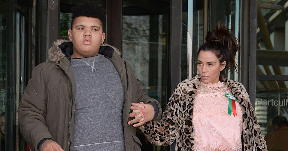 Price with her 16-year-old son Harvey Price. (PA Images)