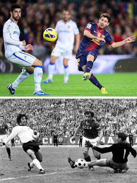 This combo of two file photographs shows at top; FC Barcelona's Lionel Messi, from Argentina, scoring his second goal against Zaragoza during a Spanish La Liga soccer match at the Camp Nou stadium in Barcelona, Spain, in a Nov. 17, 2012 file photo, and at bottom; a June 18, 1972 file photo of Gerd Mueller, left, of West Germany, scoring a goal against the Soviet Union in the Heysel Stadium, in Brussels. Messi scored his 85th goal during the Spanish league game with Betis on Sunday, Dec. 9, 2012, matching the current record of most goals scored within one calendar year, previously held by former German striker Gerd Mueller. (AP Photos, Files)