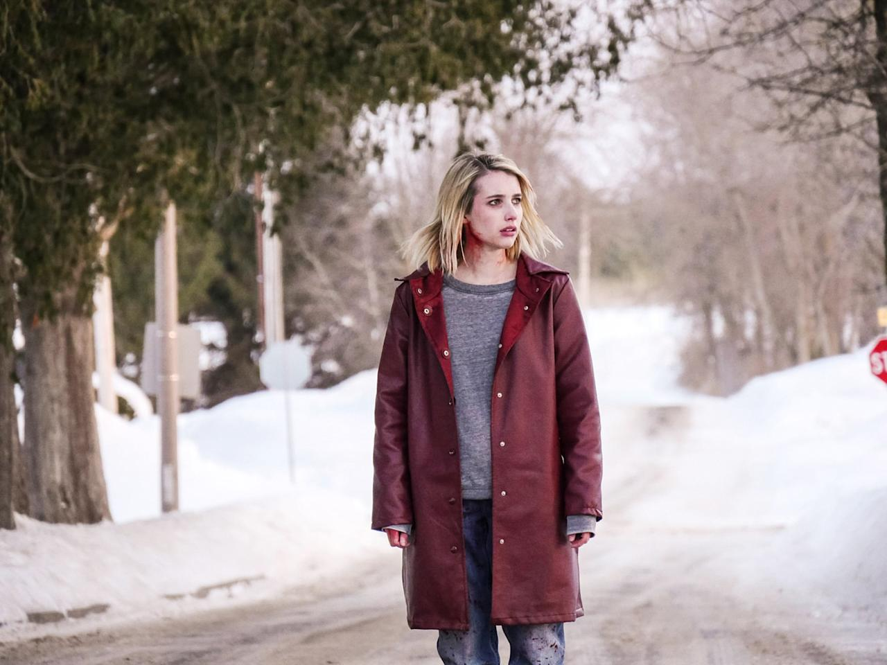 """<p>In this horror flick, Emma Roberts plays Joan, a troubled young woman en route to an isolated Catholic boarding school in the dead of Winter, where two students whose parents never picked them up for Winter break (played by Kiernan Shipka and Lucy Boynton) are up against a sinister yet unseen threat. Though it's unclear why Joan is so determined to get to Bramford, it <em>is</em> clear that the force becomes more powerful the closer she gets to the school. </p> <p><a href=""""http://www.netflix.com/title/80080768"""" target=""""_blank"""" class=""""ga-track ga-track"""" data-ga-category=""""Related"""" data-ga-label=""""http://www.netflix.com/title/80080768"""" data-ga-action=""""In-Line Links"""">Watch <strong>The Blackcoat's Daughter</strong> on Netflix</a>.<br></p>"""