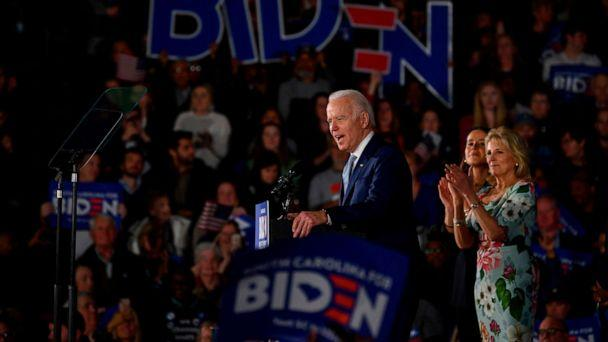 PHOTO: Democratic presidential candidate Joe Biden, accompanied by his daughter Ashley Biden (C) and wife Jill Biden (R) delivers remarks at his primary night election event in Columbia, South Carolina, on Feb. 29, 2020. (Jim Watson/AFP via Getty Images)