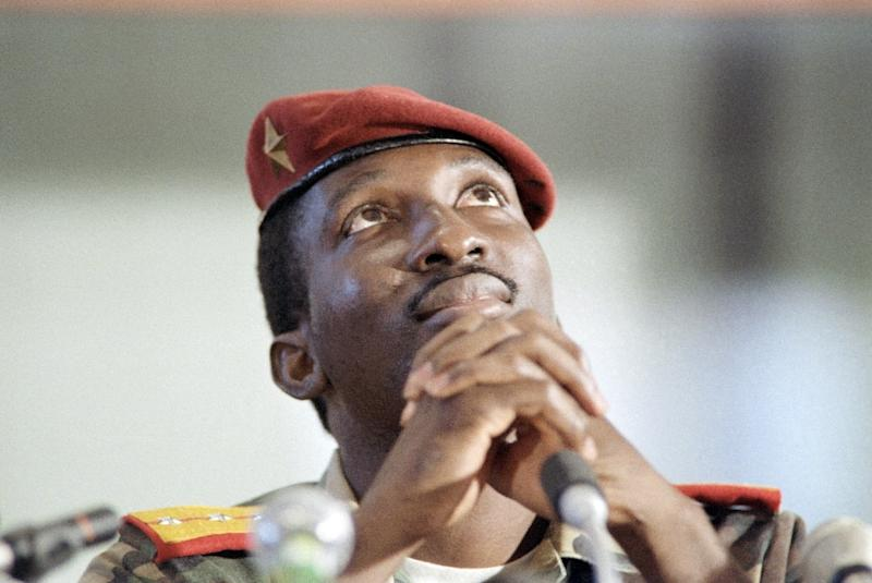 Captain Thomas Sankara, then President of Burkina Faso, sits during a press conference in Harare, Zimbabwe, on September 2, 1986