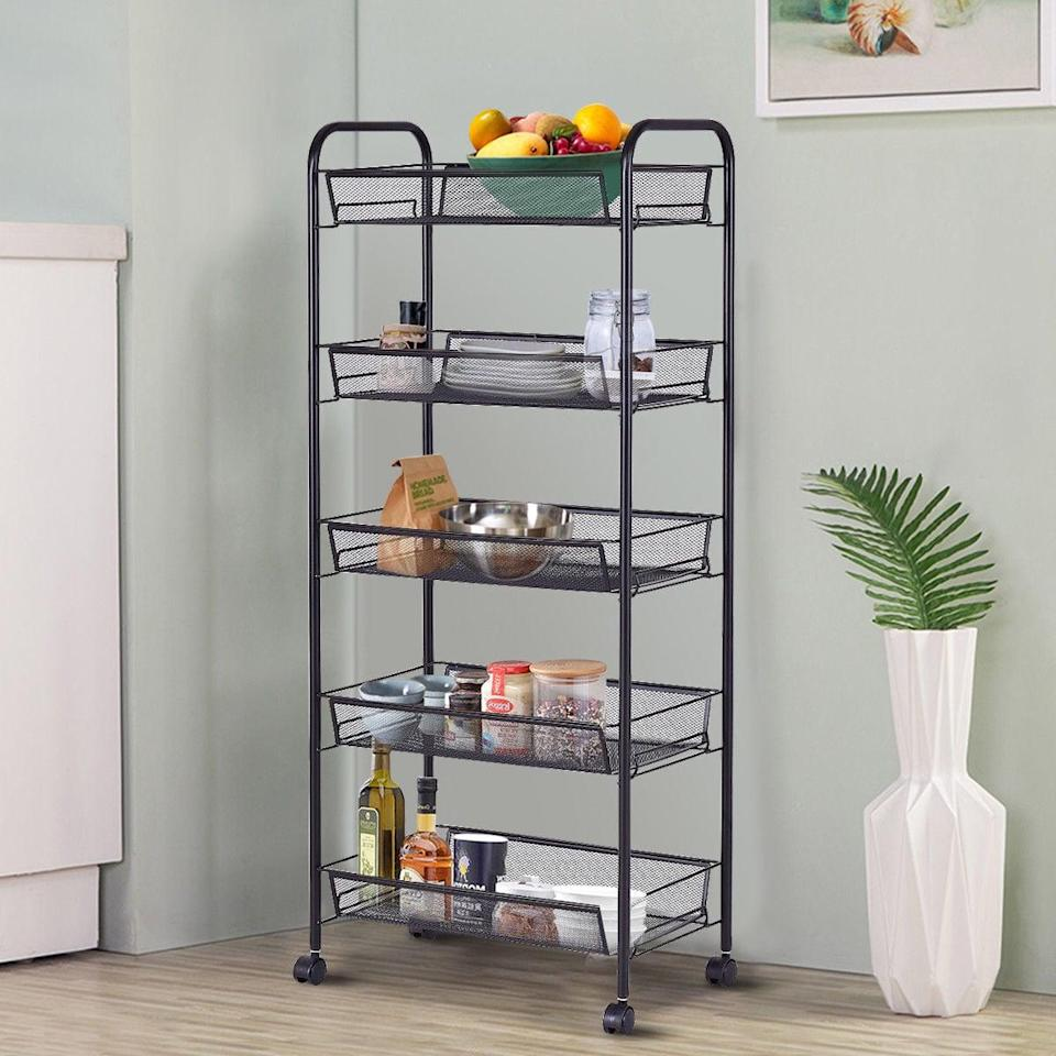 <p>If you're lacking pantry space, consider this <span>Costway Storage Rack Trolley Cart</span> ($50).</p>