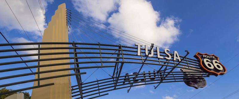 The famous Route 66 Gate in Tulsa Oklahoma
