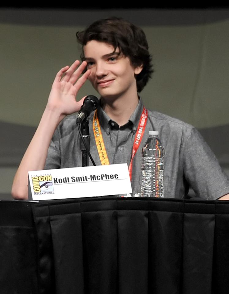 """SAN DIEGO, CA - JULY 13:  Actor Kodi Smit-McPhee speaks at the """"Paranorman: Behind The Scenes"""" panel during Comic-Con International 2012 at San Diego Convention Center on July 13, 2012 in San Diego, California.  (Photo by Kevin Winter/Getty Images)"""