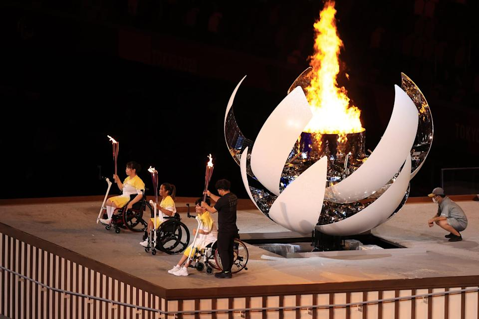 <p>The Paralympic cauldron shown lit up during the 2021 Paralympic Games opening ceremony. </p>
