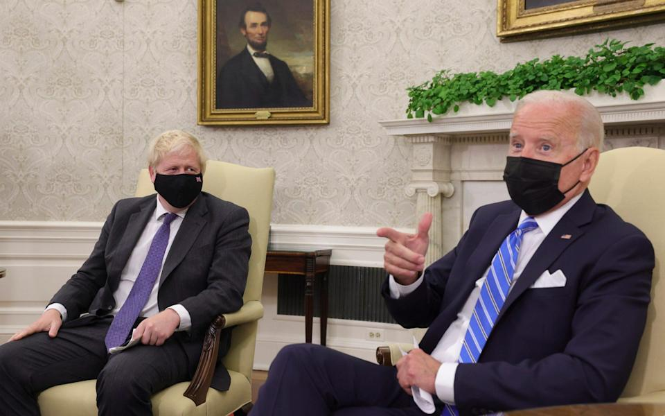 """Mr Biden said: """"On the protocols, I feel very strongly on this."""" - No10 Downing Street"""