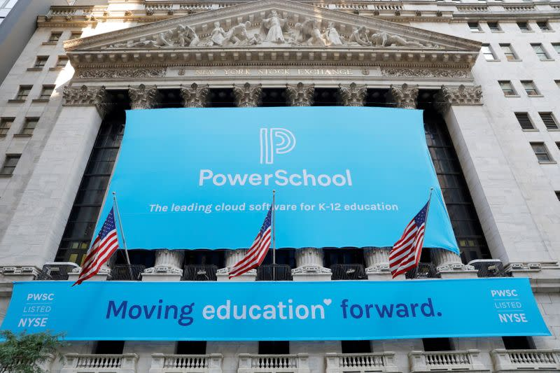Signage for PowerSchool (NYSE:PWSC) is seen ahead of their Initial public offering (IPO) at the New York Stock Exchange (NYSE) in New York City, New York