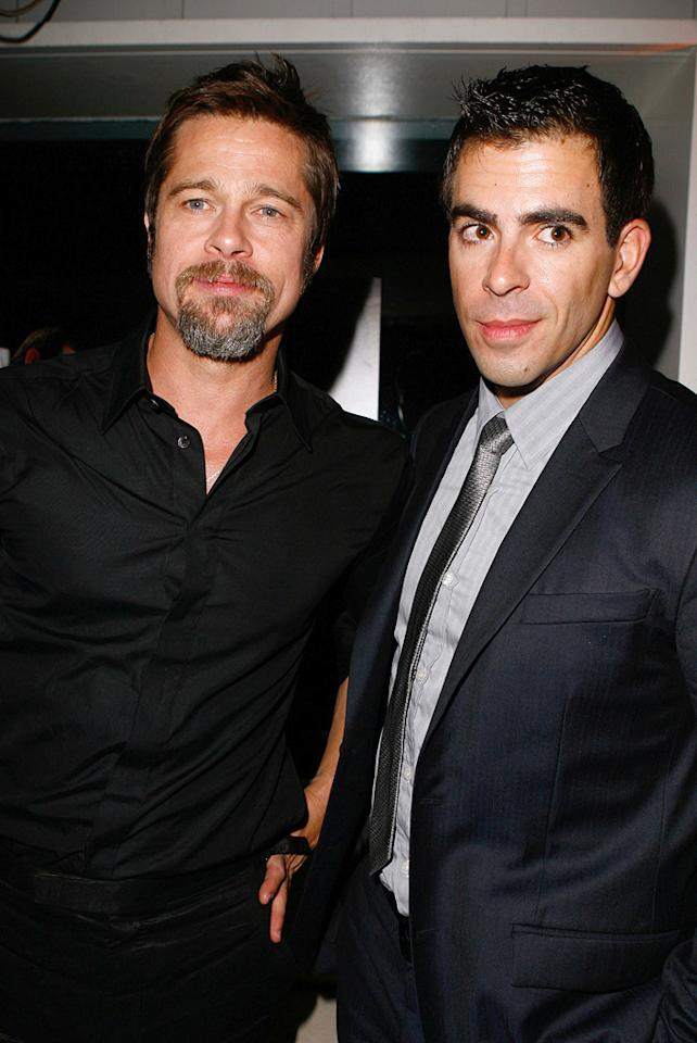 """<a href=""""http://movies.yahoo.com/movie/contributor/1800018965"""">Brad Pitt</a> and <a href=""""http://movies.yahoo.com/movie/contributor/1804143104"""">Eli Roth</a> at the Los Angeles premiere of <a href=""""http://movies.yahoo.com/movie/1808404206/info"""">Inglourious Basterds</a> - 08/10/2009"""