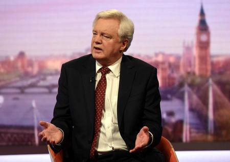 Britain's Secretary of State for Leaving the EU David Davis speaks on the Marr Show in London