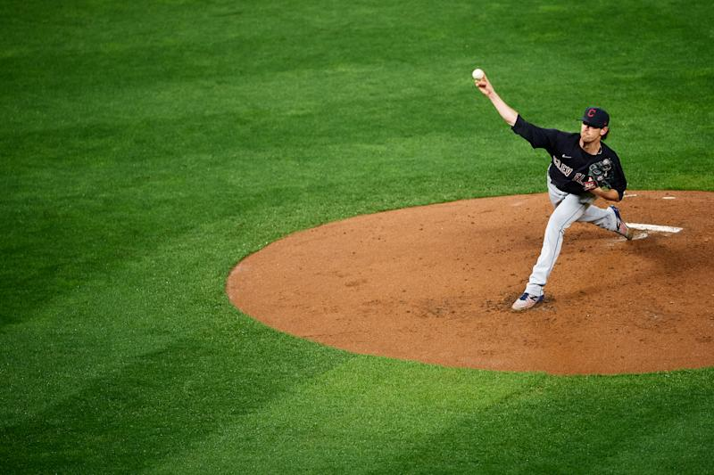 MINNEAPOLIS, MINNESOTA - SEPTEMBER 11: Shane Bieber #57 of the Cleveland Indians delivers a pitch against the Minnesota Twins during the game at Target Field on September 11, 2020 in Minneapolis, Minnesota. The Twins defeated the Indians 3-1. (Photo by Hannah Foslien/Getty Images)