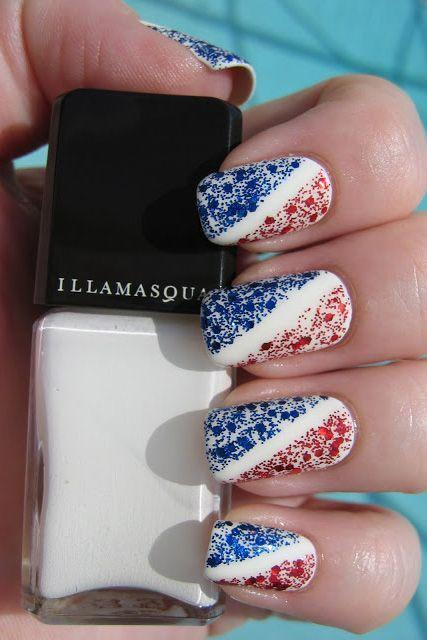 """<p>Separate red and blue glitter with a strategically-placed piece of tape to achieve this American look. Wait for the base nail polish to dry (seriously, <em>wait</em>) before applying the tape and sparkles for the best look.</p><p><a class=""""link rapid-noclick-resp"""" href=""""https://www.amazon.com/PRETTY-Glitter-Sequins-Flakies-Paillette/dp/B0725GKMD5/?tag=syn-yahoo-20&ascsubtag=%5Bartid%7C10055.g.1278%5Bsrc%7Cyahoo-us"""" rel=""""nofollow noopener"""" target=""""_blank"""" data-ylk=""""slk:SHOP NAIL GLITTER"""">SHOP NAIL GLITTER</a></p><p><em><a href=""""http://www.dizzynails.com/search?updated-max=2011-07-10T22:11:00-04:00&max-results=7"""" rel=""""nofollow noopener"""" target=""""_blank"""" data-ylk=""""slk:See more on Dizzy Nails »"""" class=""""link rapid-noclick-resp"""">See more on Dizzy Nails »</a></em> </p>"""