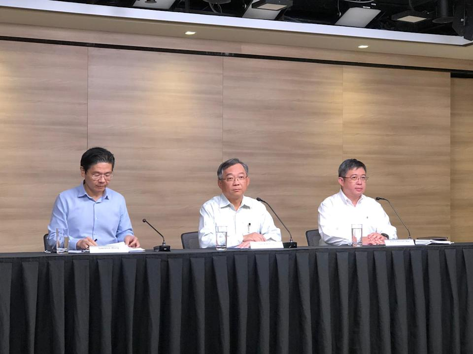 Health Minister Gan Kim Yong speaking at the multi-ministry taskforce press conference on 14 February, 2020. (PHOTO: Yahoo News Singapore)