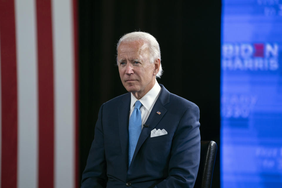 Democratic presidential candidate former Vice President Joe Biden pauses during a virtual grassroots fundraiser at the Hotel DuPont in Wilmington, Del., Wednesday, Aug. 12, 2020. (AP Photo/Carolyn Kaster)