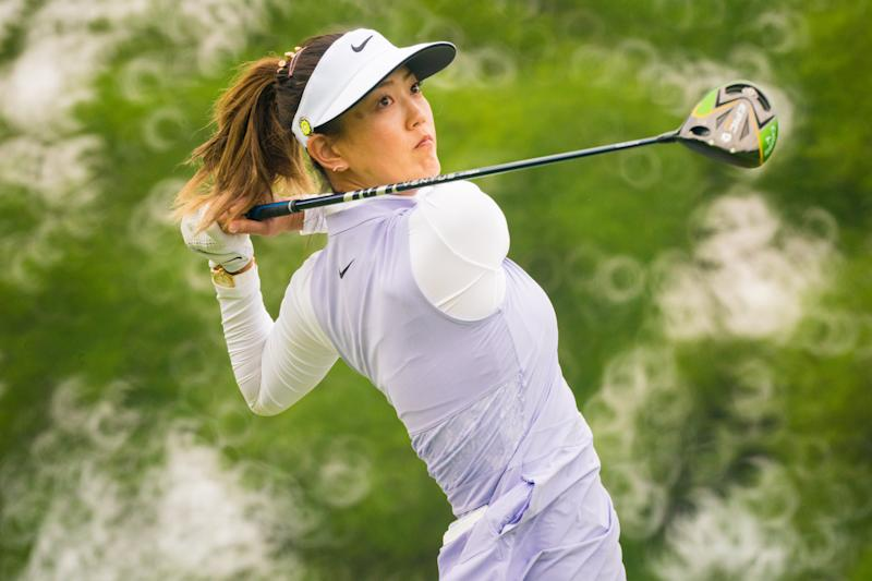 Michelle Wie hits her tee shot on the third hole during the second round for the 65th KPMG Womens PGA Championship held at Hazeltine National Golf Club on June 21, 2019 in Chaska, Minnesota. (Photo by Darren Carroll/PGA of America via Getty Images)