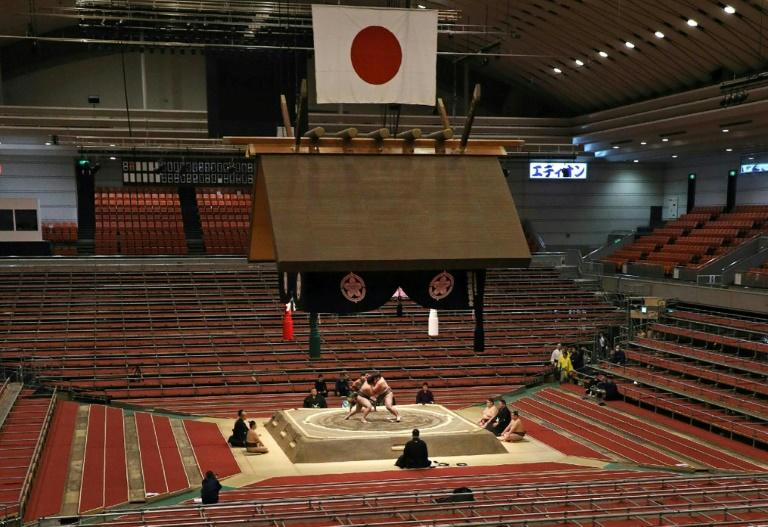 The Grand Sumo Tournament in Edion Arena, Osaka, is taking place without spectators due to the coronavirus outbreak