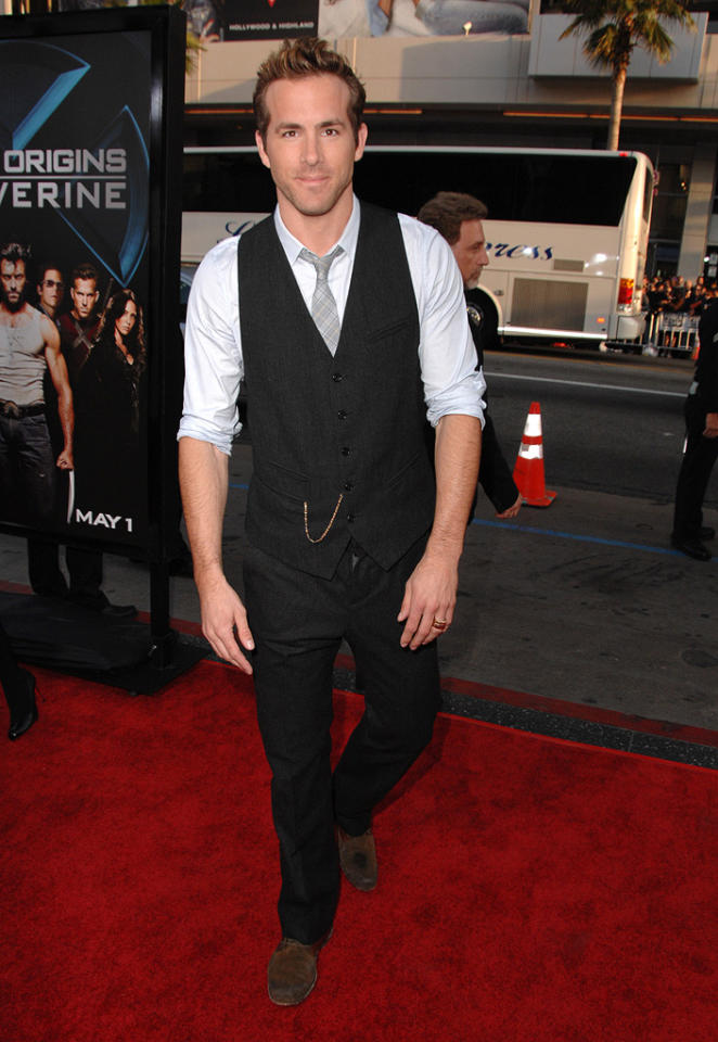 """<a href=""""http://movies.yahoo.com/movie/contributor/1800025139"""">Ryan Reynolds</a> at the Los Angeles premiere of <a href=""""http://movies.yahoo.com/movie/1808665084/info"""">X-Men Origins: Wolverine</a> - 04/28/2009"""