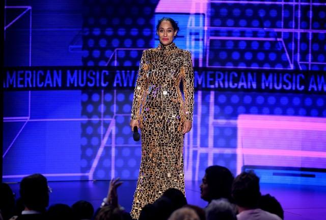 Tracee Ellis Ross AMAs mirrored column dress
