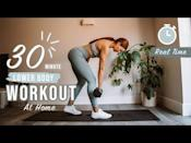 """<p>This weighted leg workout from PT Emily engages the largest muscles in your body for a challenging 30-minute sweat. </p><ul><li><strong>How long? </strong>30 minutes</li><li><strong>Equipment: </strong>Heavy weight, chair, resistance band</li></ul><p><a href=""""https://www.youtube.com/watch?v=jUPxmNW6oyE&ab_channel=EmilyRicketts"""" rel=""""nofollow noopener"""" target=""""_blank"""" data-ylk=""""slk:See the original post on Youtube"""" class=""""link rapid-noclick-resp"""">See the original post on Youtube</a></p>"""