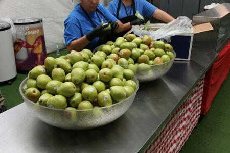 Fruits are on display at a tent city set up to hold immigrant children separated from their parents or who crossed the U.S. border on their own, in Tornillo, Texas, U.S., in this U.S. Department of Health and Human Services (HHS) image released on October 12, 2018.   Courtesy HHS/Handout via REUTERS