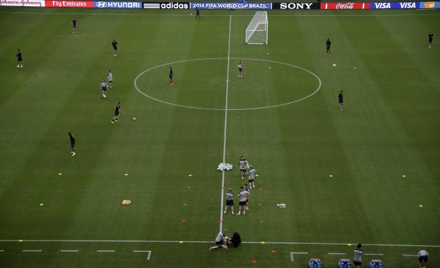England work through drills during a training session at Arena da Amazonia in Manaus, Brazil, Friday, June 13, 2014. England plays in group D of the 2014 soccer World Cup. (AP Photo/Martin Mejia)