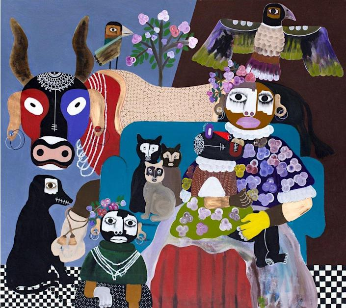 A figurative painting of a woman and children with a cow, dog, cats and birds