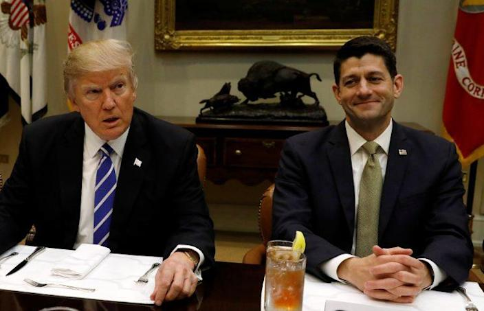 Trump and Ryan take part in a leadership lunch at the White House in Washington, D.C., earlier this month. (Kevin Lamarque/Reuters)